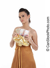 woman with lots of cash