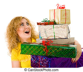 woman with lot's of gifts
