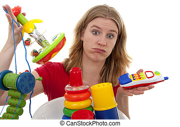 woman with lots of toys