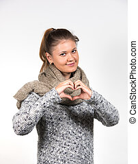 woman with love sign