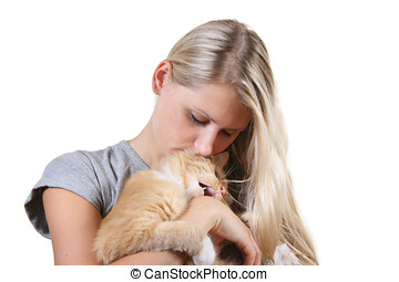 Woman with lovely cat