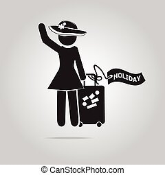 Woman with Luggage symbol