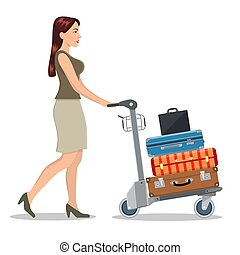 woman with luggage trolley in airport.