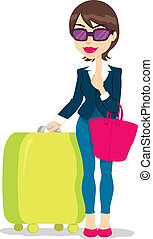 Woman With Luggage - Woman with sunglasses holding luggage...