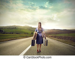 Woman with luggages - Woman walking with luggages