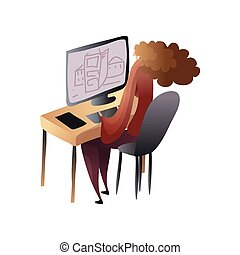 Woman with magnificent hair makes a drawing on the computer. Vector illustration.