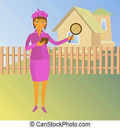Woman with magnifying glass looking for a house