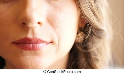 Woman with makeup and hairstyling closeup