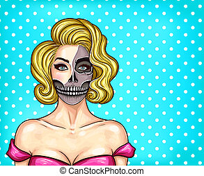 woman with makeup in pop art style, skeleton face