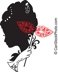 woman with mask and flowers - woman silhouette with mask...