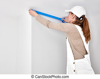 Woman with masking tape