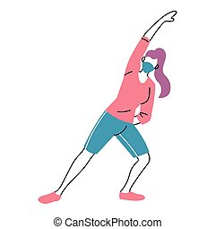woman with masks doing exercise vector illustration desing