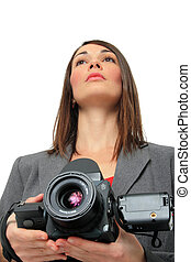 Woman With medium format Camera - Woman in suit holding a ...