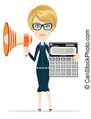 woman with megaphone and calculator