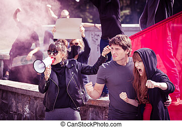 Woman with megaphone - Photo of woman with megaphone and...