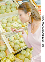 woman with melon
