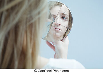 Woman with mental disorder