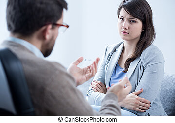 Woman with mental problem - Young scared woman with mental...