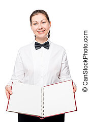 woman with menu book posing on a white background in uniform waitress