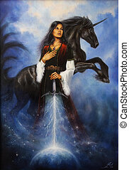 Woman with mighty black unicorn - A beautiful oil painting ...