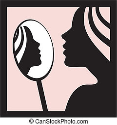 Woman with mirror vector - Young woman with mirror vector...