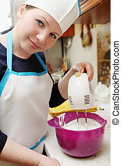 woman with mixer