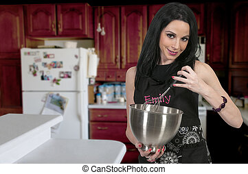 Woman with Mixing Bowl - Beautiful woman using a large...