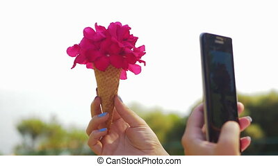 Woman with mobile taking picture of cone flower bouquet -...