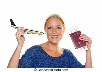woman with model airplane