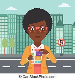 Woman with modular phone vector illustration.