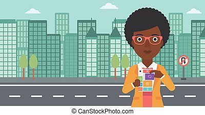 Woman with modular phone vector illustration.