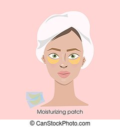 Woman with moisturizing patches.