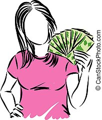 woman with money concept vector illustration