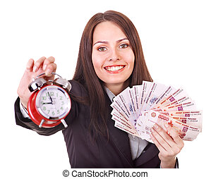 Woman with money .Russian ruble and alarm. Isolated.
