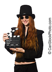 Woman with movie board isolated on white