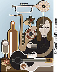 Woman with musical instruments - vector background. Abstract...
