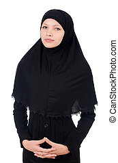 Woman with muslim burqa isolated on white
