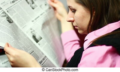Woman with newspaper - Business woman with newspaper