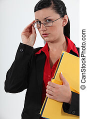 Woman with office files