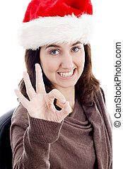 woman with ok hand gesture