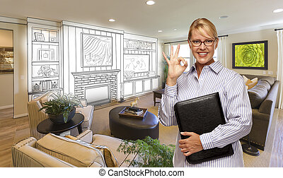 Happy Woman with Okay Sign Over Custom Living Room and Design Drawing.