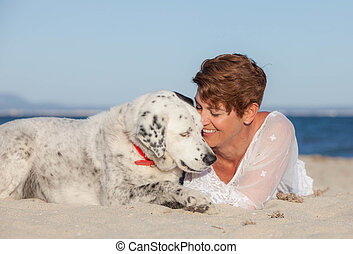 woman with old rescue dog or pet