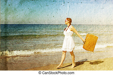 Woman with old vintage bag. Photo in old color image style.