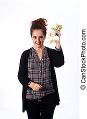 woman with onion white background