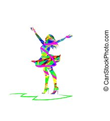 woman with open arms - vector silhouette of woman with open...
