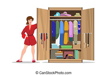 Woman with open closet