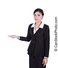 woman with open palm. Copy space business concept