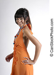 woman with orange dress
