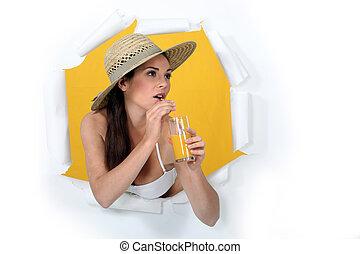 Woman with orange juice