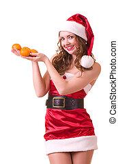 woman with orange mandarin